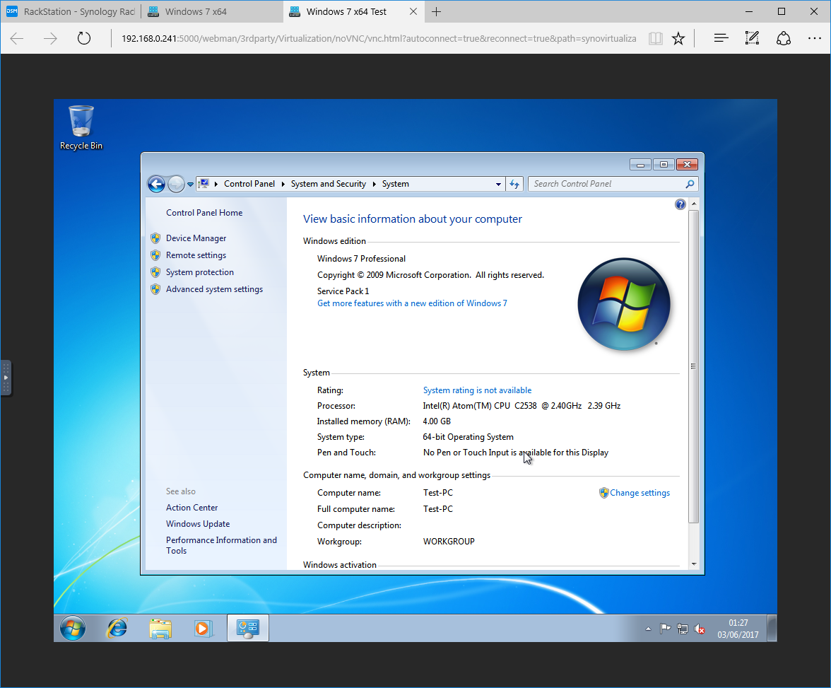 How to set-up Windows 7 on Synology Virtual Machine Manager