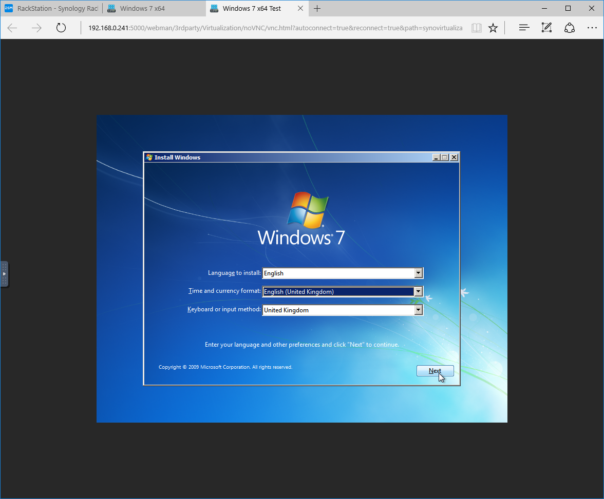 How to set-up Windows 7 on Synology Virtual Machine Manager Beta – Poyu