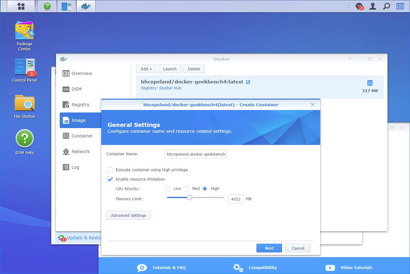 Benchmark DS218+ with Geekbench 4 through Synology Docker – Poyu